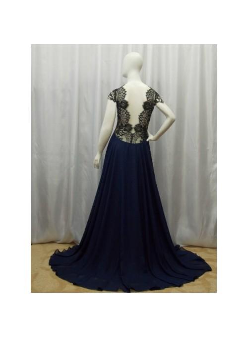 Vestido Carol Azul/Preto
